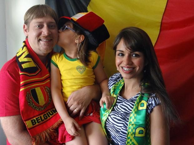 Beatriz Peeters, 5, disse que vai torcer pelo Brasil em um jogo entre a seleção nacional e a Bélgica (Foto: Débora Soares/G1)