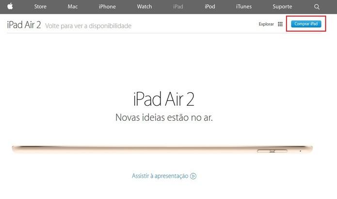 """Botão de """"Comprar iPad"""" apareceu na página oficial do iPad Air 2 (Foto: Reprodução/Apple)"""