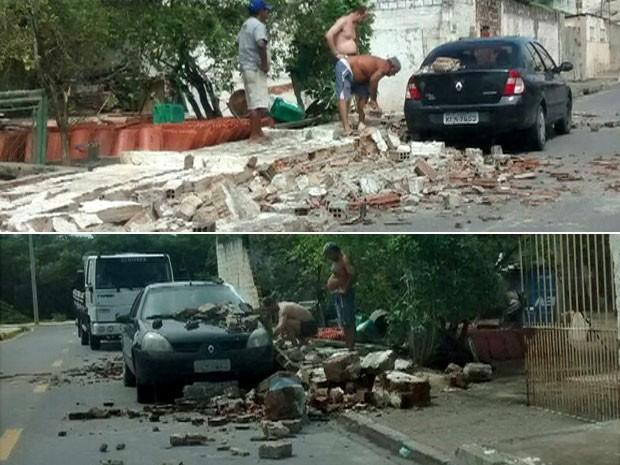 Na quinta, em Rio Doce, Olinda, vento derrubou tijolos de muro. Material acabou caindo e danificando veículo (Foto: Reprodução / WhatsApp)
