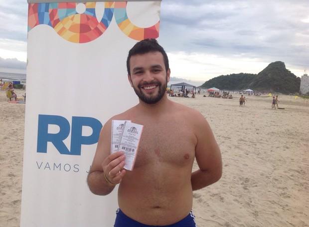 Ricardo ferreira mandou bem e também garantiu um par de ingressos (Foto: Divulgação/ RPC)