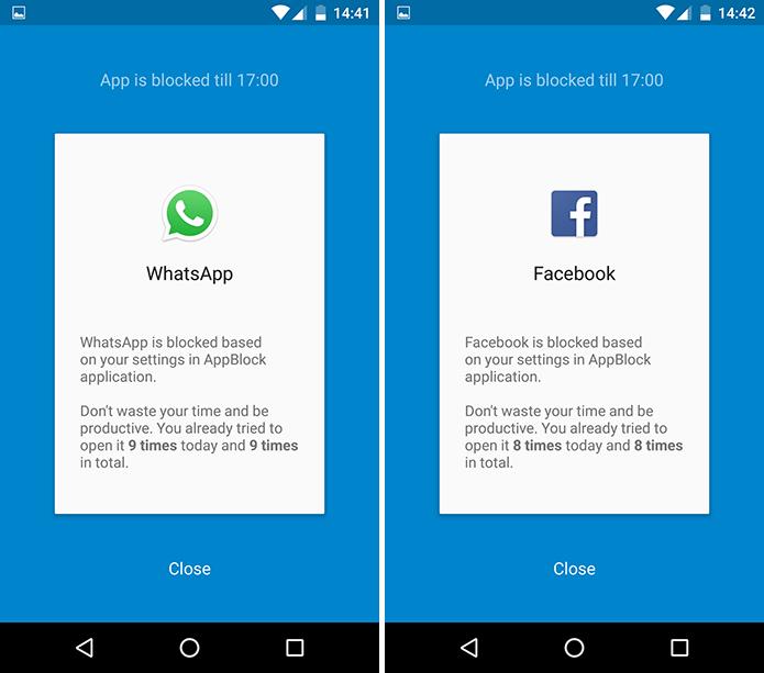 Apps bloqueados não emitem notificações e ainda são impedidos de serem abertos no horário programado (Foto: Reprodução/Paulo Alves)