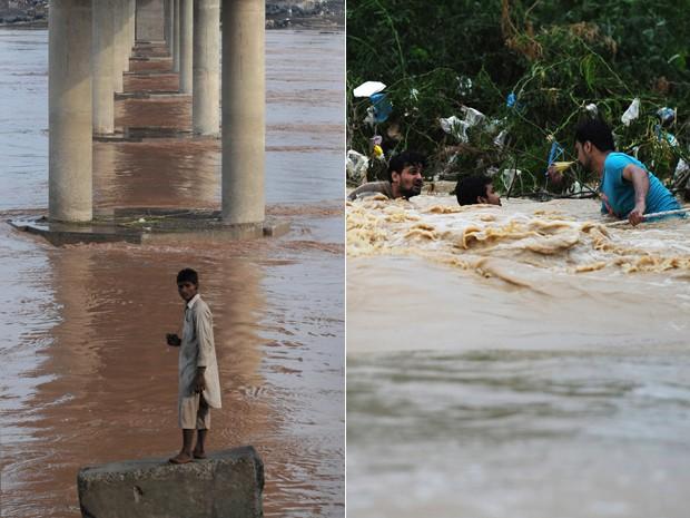 População do Paquistão é atingida por enchentes em Karachi, maior cidade do país (Foto: AFP/Arif Ali e AFP/Asif Hassan)