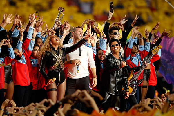 Coldplay, Beyonce e Bruno Mars (2016) (Foto: Getty Images)