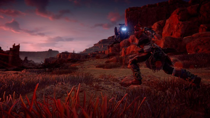 Horizon Zero Dawn: seja sorrateiro para executar os inimigos (Foto: Reprodução/Victor Teixeira)