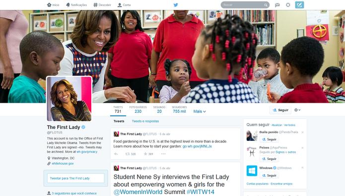 Michelle Obama no Twitter (Foto: Reprodução/Twitter)