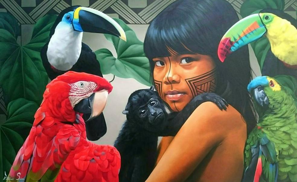 Obra mostra criança indígena com aves silvestres (Foto: Petterson Silva/ Arquivo pessoal)