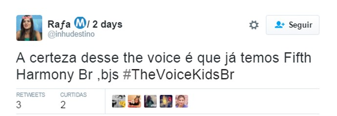 Tweet Fifth Harmony The Voice Kids (Foto: Reprodução/ Redes Sociais)