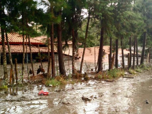 Ribeirão transbordou e enxurrada atingiu propriedades rurais em Bom Repouso (Foto: Reprodução EPTV)
