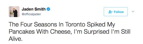 O relato de Jaden Smith anunciando sua expulsão de um hotel em Toronto (Foto: Twitter)