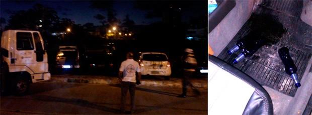 Barreira foi montada no período de 1h às 4h30 na Rua Walter Duarte Pereira, no bairro de Capim Macio (Foto: Tenente da PM Styvenson Valentim/G1)