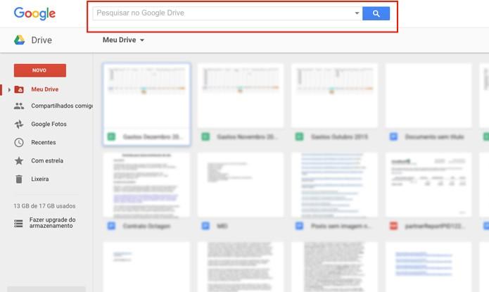 Google Drive com busca avançada