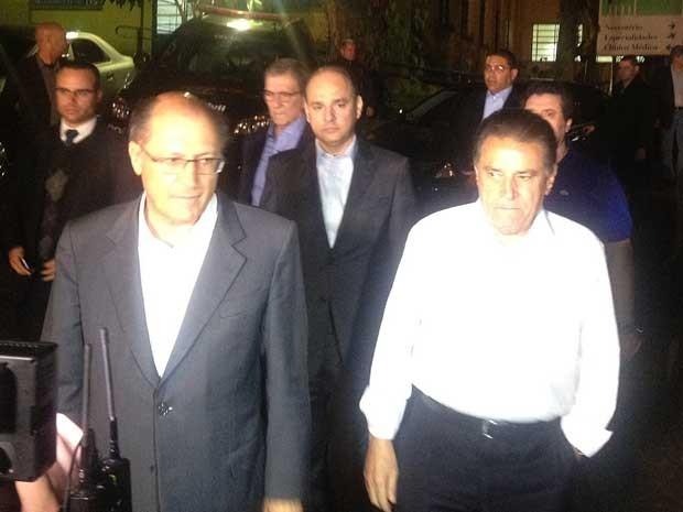 Os governadores de SP, Geraldo Alckmin, e PE, João Lyra Neto. (Foto: Marcelo Mora / G1)