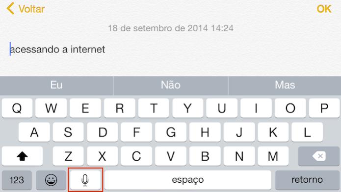Ditado em português: Fale e iOS escreve para você  (Foto: (Foto: Reprodução/Edivaldo Brito))