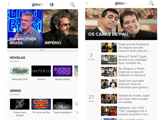App Globo.tv oferece acervo de séries e novelas (Foto: Reprodução)