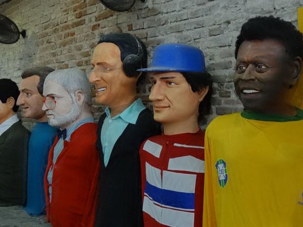 Pelé, Galvão, Ayrton Senna e Jô Soares também foram transformados em bonecos. (Foto: Katherine Coutinho / G1)