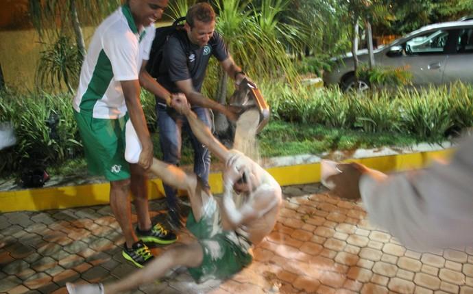 Nivaldo leva farinhada de aniversário (Foto: Cleberson Silva/Chapecoense)