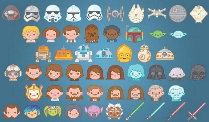 Alguns personagens que entraram para lista de emojis do app oficial dos filmes (Foto: Reprodução/CNet)