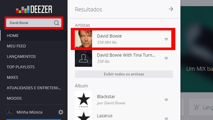 Página do cantor pode ser acessada com rapidez no menu (Foto: Reprodução/Deezer)