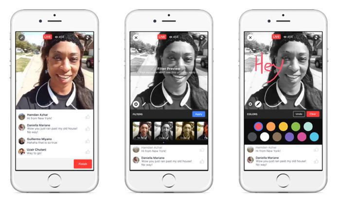 Você poderá transmitir vídeo com filtros e desenhos na tela (Foto: Divulgação/Facebook)