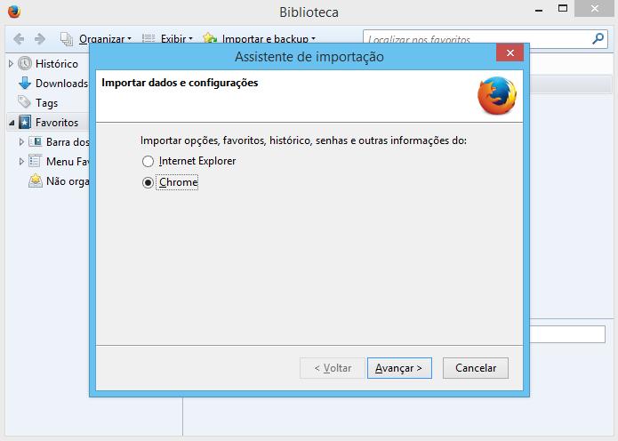 Escolha de qual navegador deseja importar os dados (Foto: Reprodução/Helito Bijora)
