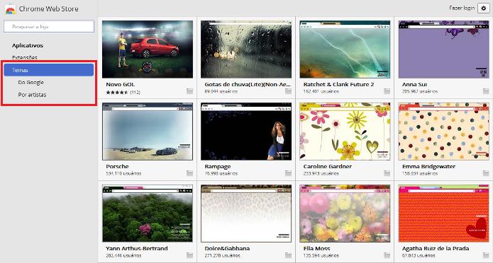 Categorias da galeria de temas do Google Chrome (Foto: Reprodução/Lívia Dâmaso)