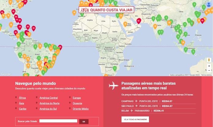 Homepage do site tem um mapa com marcadores de preço (Foto: Reprodução/Daniela Ferrari)