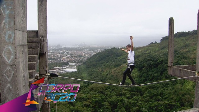 Conheça o Highline, esporte radical nas alturas, no Corpo em Ação (Foto: Reprodução/TV Tribuna)