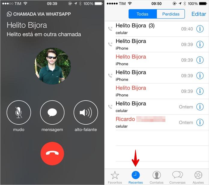 Fazendo ligações no WhatsApp para iPhone (Foto: Reprodução/Helito Bijora)