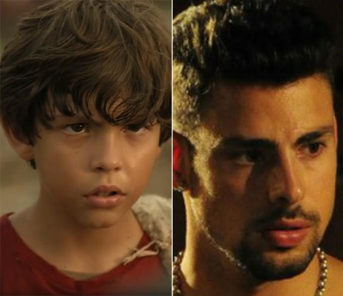 À esquerda, Bernardo Simões como Batata e, à direita, Cauã Reymond como Jorginho em 'Avenida Brasil' (Foto: TV Globo)