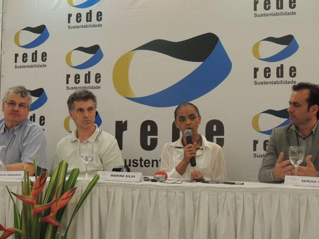 Marina Silva participou de coletiva no Recife (Foto: Luna Markman / G1)