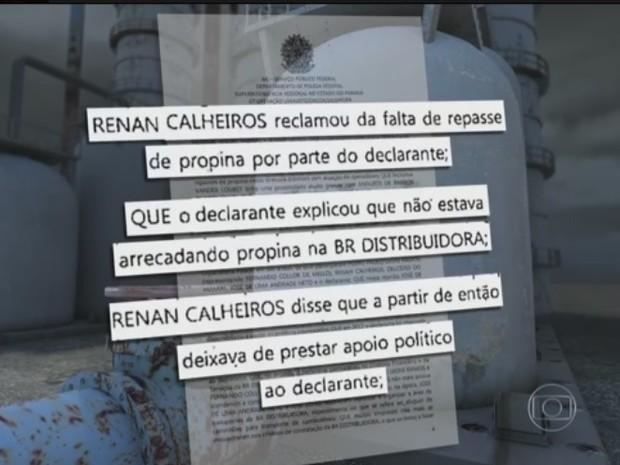 Renan Calheiros teria cobrado repasse de propina de Cerveró (Foto: Reprodução/TV Globo)