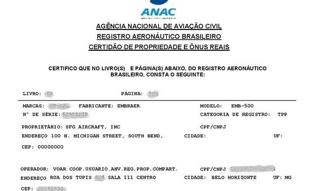 Certidão de avião usado por Neymar, pertencente á SFG Aircraft e operado pela Voar
