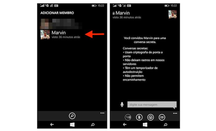 Iniciando uma conversa secreta com um amigo do Telegram pelo Windows Phone (Foto: Reprodução/Marvin Costa) (Foto: Iniciando uma conversa secreta com um amigo do Telegram pelo Windows Phone (Foto: Reprodução/Marvin Costa))