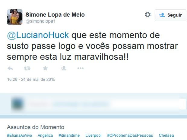 No Twitter, fãs mandam mensagem de apoio para Angélica e Luciano Huck (Foto: Reprodução/Twitter)