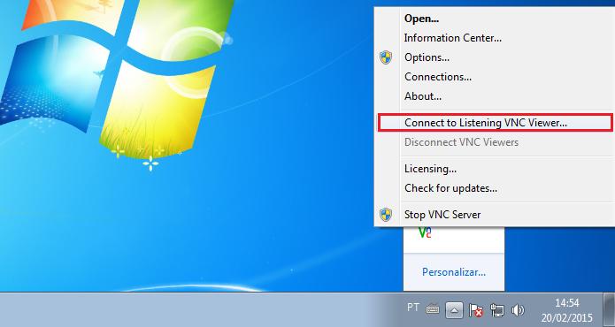 Acessando a opção do Real VNC para conectar a outro dispositivo (Foto: Reprodução/Edivaldo Brito)