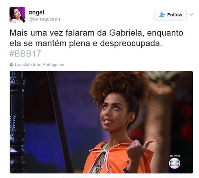 Tweet Gabriela (Foto: Reprodução da internet)
