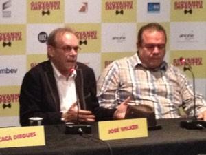 José Wilker e André Mattos durante a entrevista coletiva de 'Giovanni Improtta' em São Paulo (Foto: Cauê Muraro/G1)