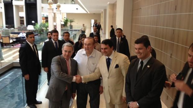Nicolas Leoz, presidente da Conmebol, e Federico Franco, presidente do Paraguai (Foto: Marcelo Prado)