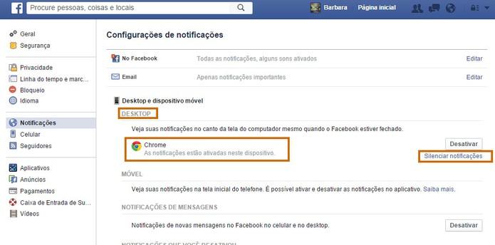 Se preferir o usuário poderá silenciar as notificações do Facebook (Foto: Reprodução/Barbara Mannara)