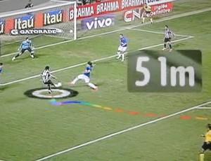 Gol de Ronaldinho Gaúcho, do Atlético-MG (Foto: Arte Globo / Rj)