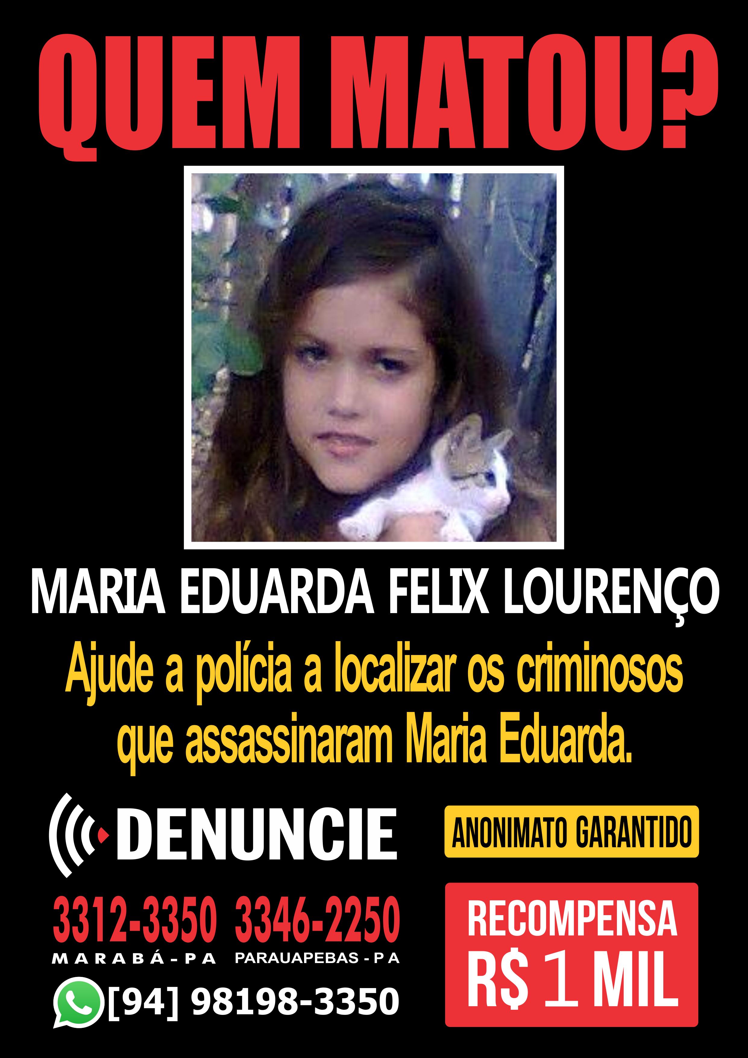 Maria Eduarda (Foto: Reprodução/ Disque-denúncia)