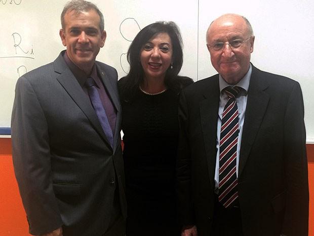 Da esquerda para a direita: professor Rogério Nery (Unoesc), professora Gina Pompeu (Unifor) e Robert Alexy (Foto: Arquivo pessoal)