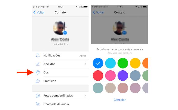 Alterando a cor de um chat do Facebook Messenger no iPhone (Foto: Reprodução/Marvin Costa)