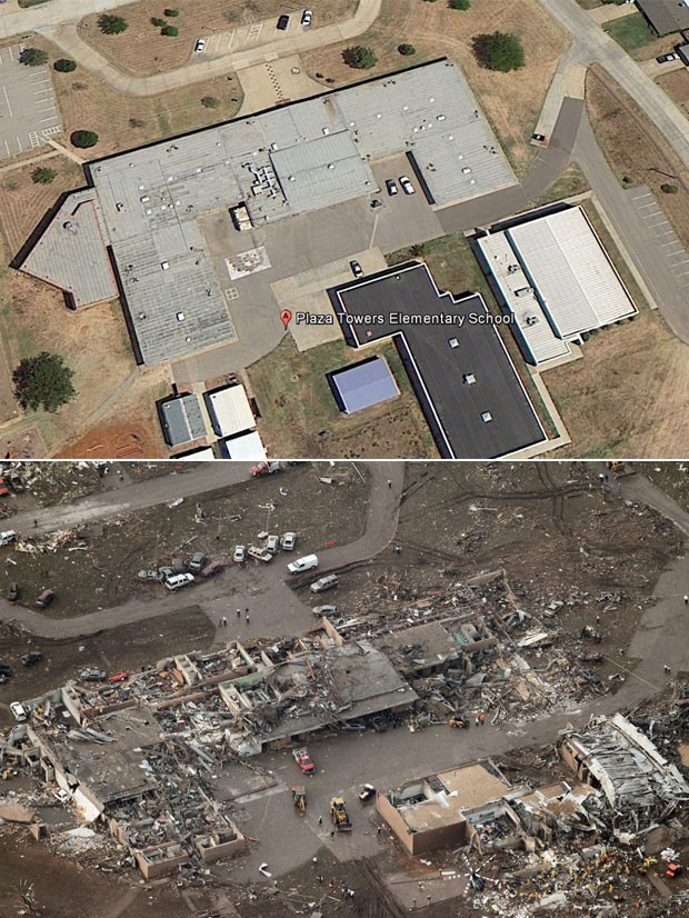 A escola primária Plaza Tower, que também foi atingida em cheio depois que o tornado tocou o chão, é vista antes (cima), em imagem de satélite, e depois, em foto feita em sobrevoo de helicóptero por Moore, Oklahoma (Foto: Reprodução/Google Earth e Steve Gooch/AP)
