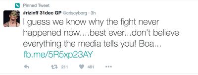 Twitter; Cris Cyborg (Foto: Reprodução)