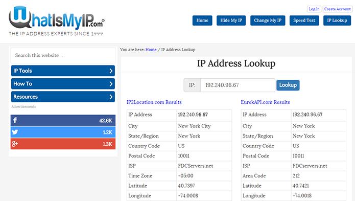 What Is My IP tem design mais refinado, e compara dois resultados de busca (Foto: Reprodução/Paulo Alves)