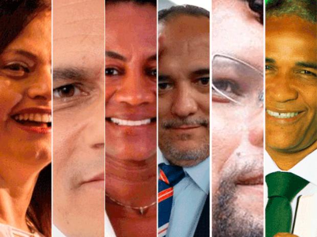 Seis candidatos à prefeitura de Salvador participaram de debate neste domingo (Foto: Arte/G1)