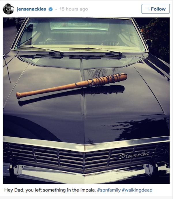 A brincadeira feita por Jensen Ackles com 'The Walking Dead' (Foto: Instagram)