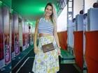 Grávida, Andressa Suita deixa barriga de fora em show de Gusttavo Lima