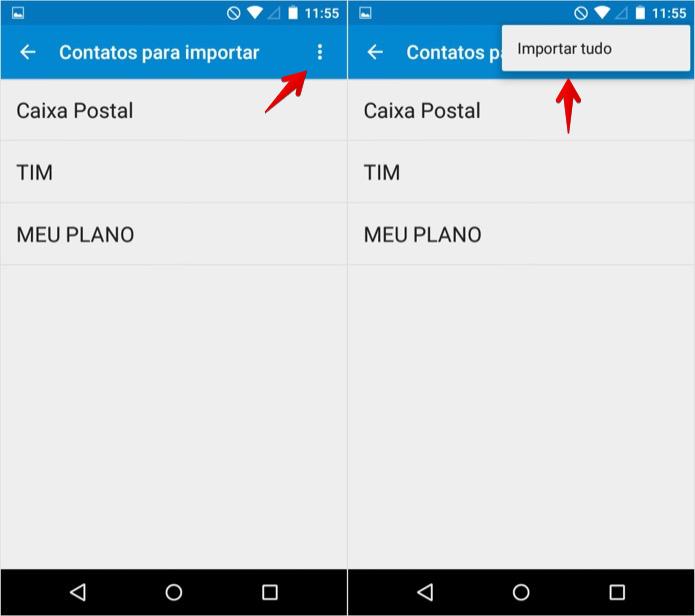 Copiando contatos para a agenda do Android (Foto: Reprodução/Helito Bijora)